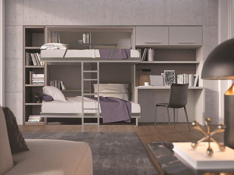 composizione salva spazio con letto a scomparsa a castello integrato modello treno- salvaspazio