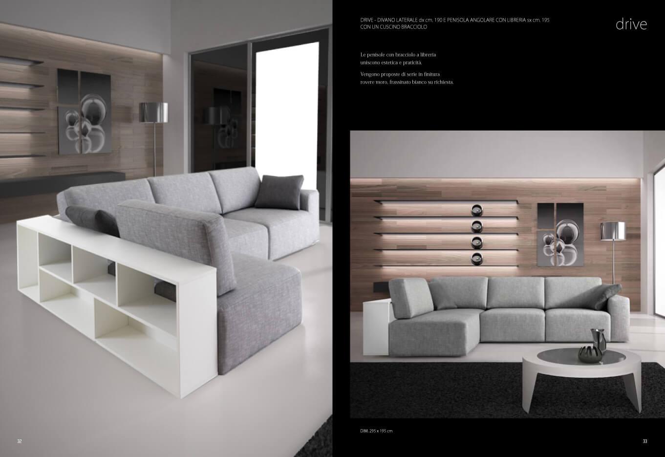 Divano modello sliding con sedute scorrevoli lineare - Libreria divano ...