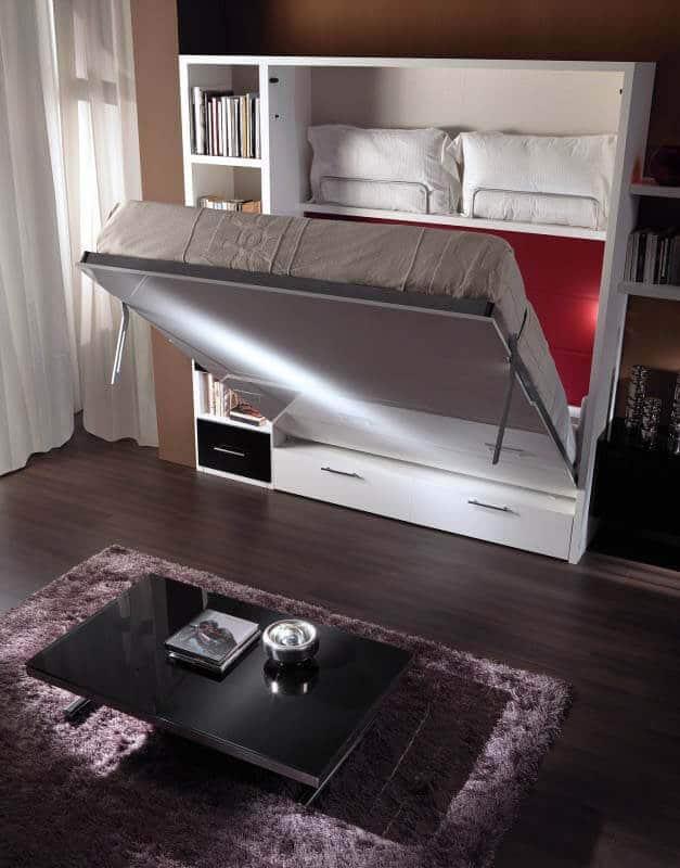 letto a scomparsa modello sofia con cassettoni foto in apertura del letto a ribalta con profondità 44,6 cm e porta guanciali con libreria laterale