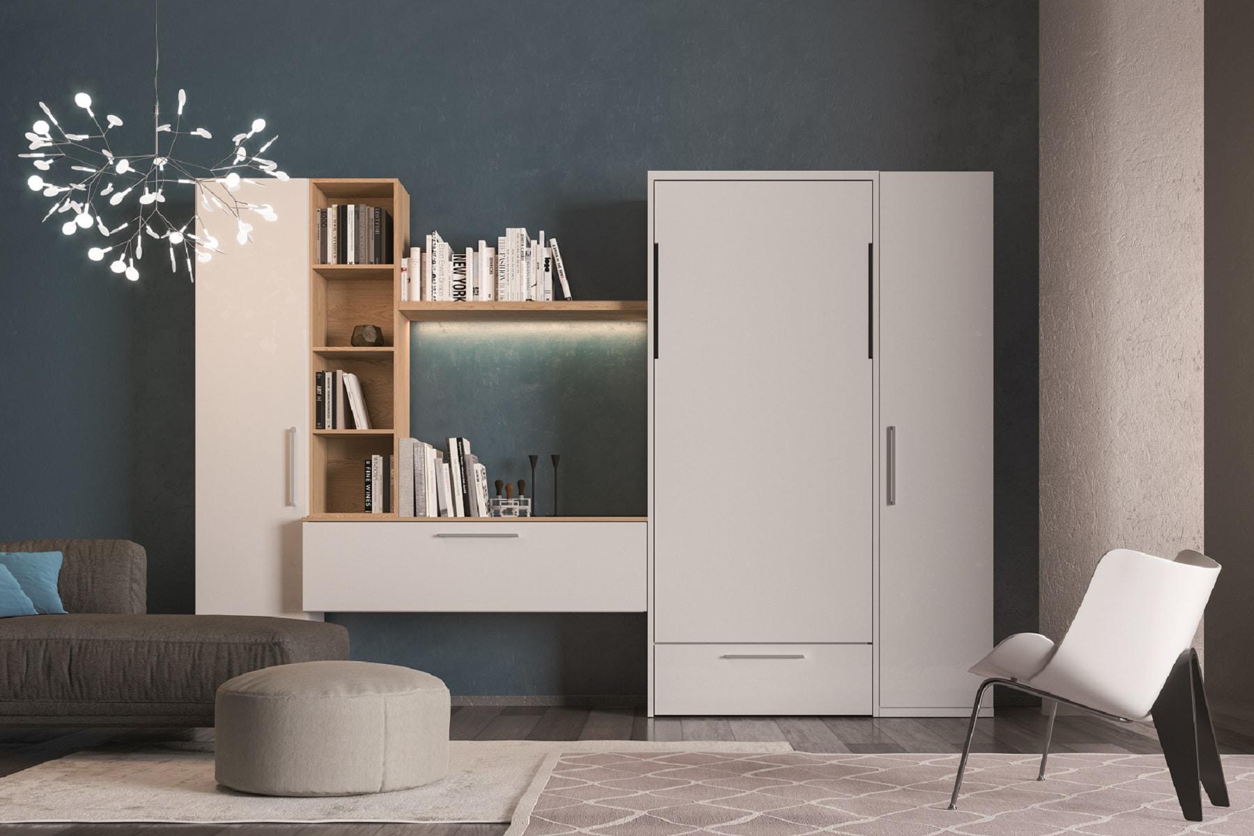 armadio letto a scomparsa rap verticale senza divanetto cassettone armadiatura e libreria personalizzabile chiuso