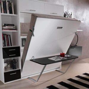 Letto a scomparsa verticale Modello Sofia a ribalta con scrivania a ribalta