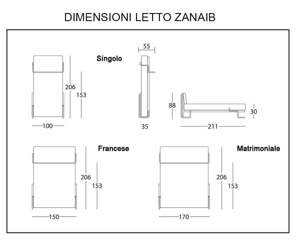 Letto a scomparsa modello zanaib verticale trasformabile letti a scomparsa letti a scomparsa - Dimensioni letto matrimoniale standard ...