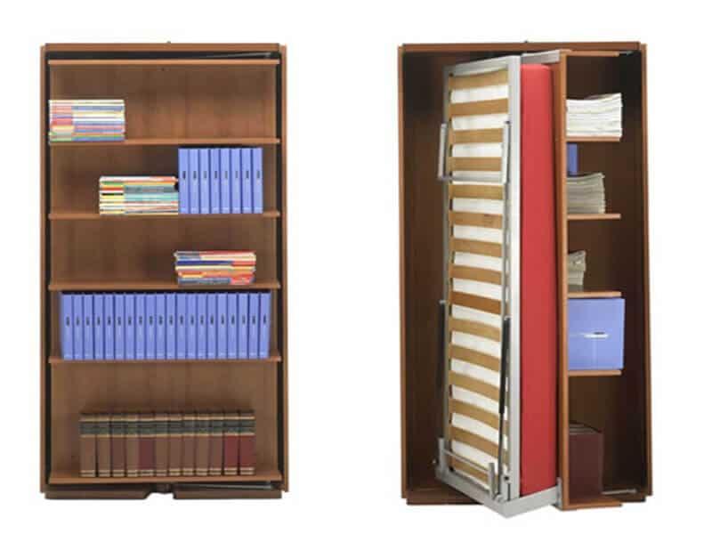 Letto Singolo Girevole a Scomparsa Genesis con Libreria o Tavolo Integrato