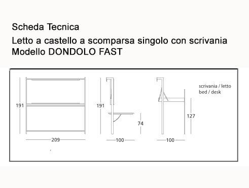 Letto a scomparsa castello modello dondolo doppio singolo o singolo superiore con scrivania - Letto lago fluttua scheda tecnica ...