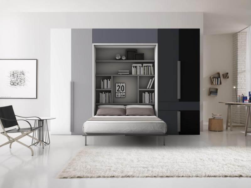 letto a parete con armadi modello angelina foto composizione tavolo estraibile chiuso e letto a scomparsa con libreria interna aperto con varie finiture scala di grigi e bianca