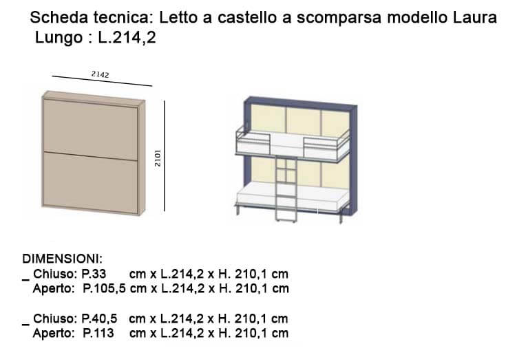 Letto a castello a scomparsa modello laura in offerta outlet milano e web - Letto lago fluttua scheda tecnica ...