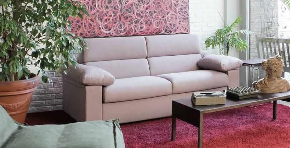 divano letto materasso 18 cm trasformabile convertibile modello cleo foto tessuto sfoderabile chiaro vista laterale