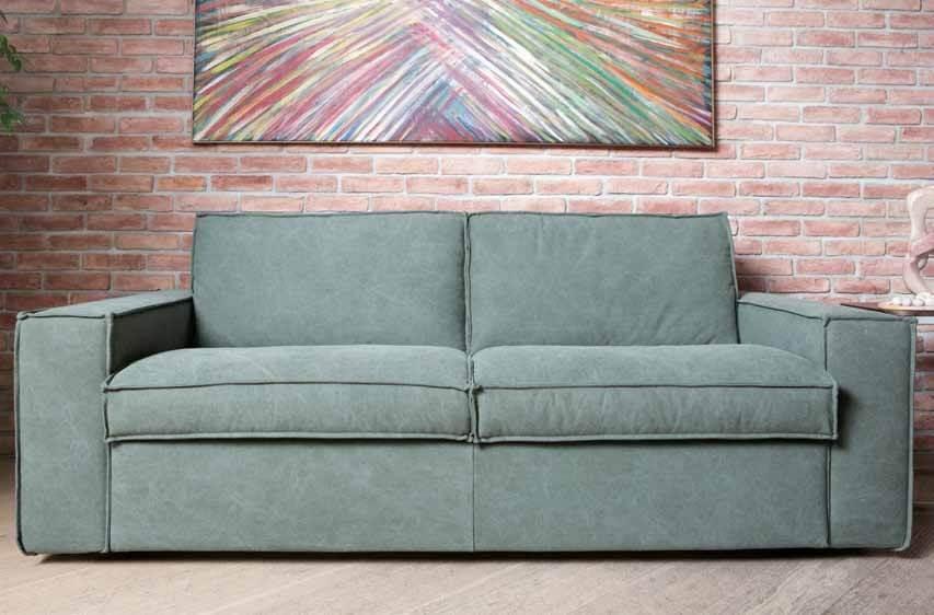 Divano Letto Materasso h17 Modello Ursula foto in tessuto sfoderabile militare versione divano convertibile chiuso imbottiture in misto piuma