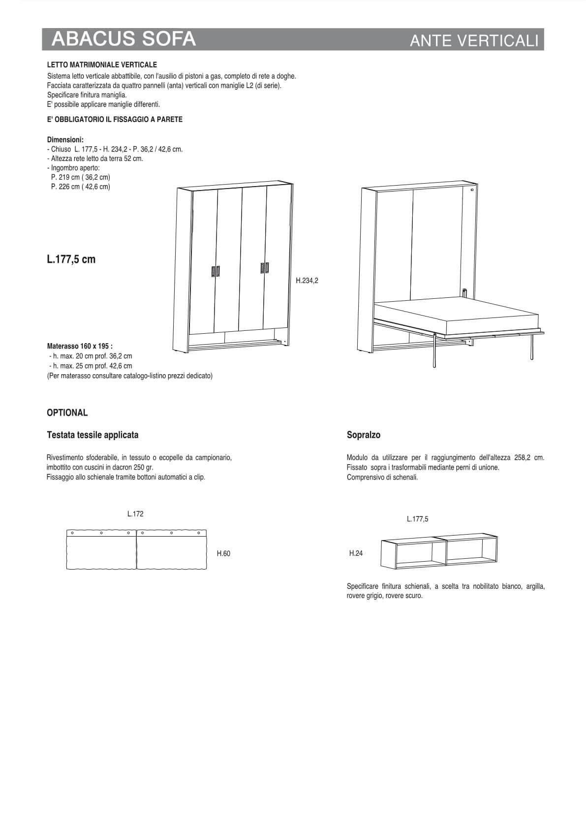 Letto a Scomparsa Abacus Ante Verticali Componibile con e senza sofà