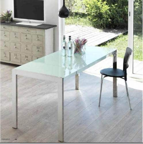 Tavolo allungabile vetro bianco linda artigiani in citt for Tavolo allungabile vetro bianco