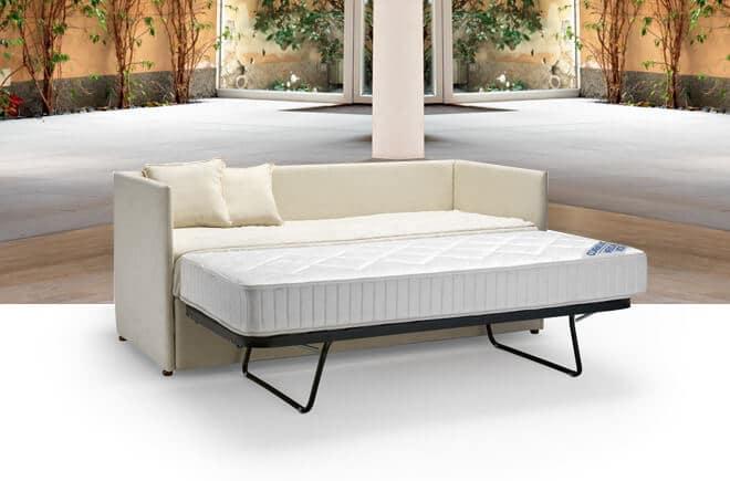 Letto con secondo letto o contenitore modello mercurio for Doppio letto estraibile