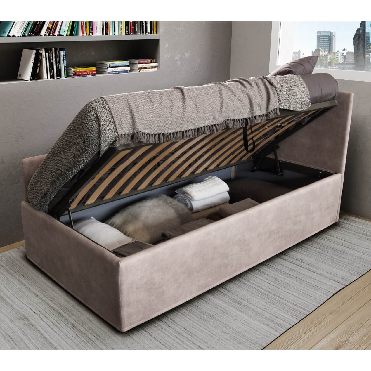 Divano letto con secondo letto estraibile o contenitore - Letto singolo imbottito con letto estraibile ...