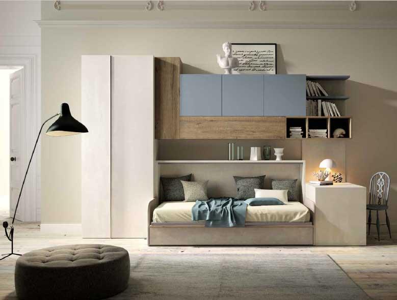 Armadio letto con divano modello rina in offerta for Letto a scomparsa con divano