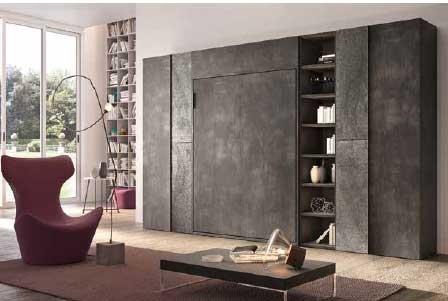 Letto A Scomparsa Outlet Modello Flor foto finitura grigio scuro spatolato letto trasformabile chiuso con librerie ed armadio punto di vista laterale