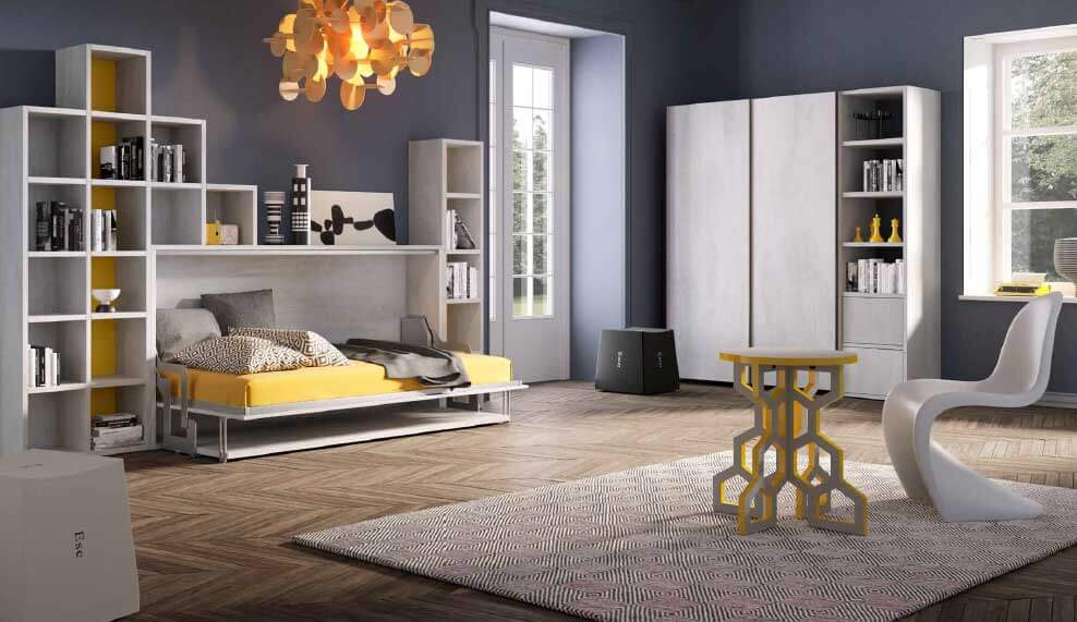 Letto A Scomparsa Orizzontale Singolo.Letto A Scomparsa Orizzontale Singolo Con Scrivania Modello Dinos Outlet