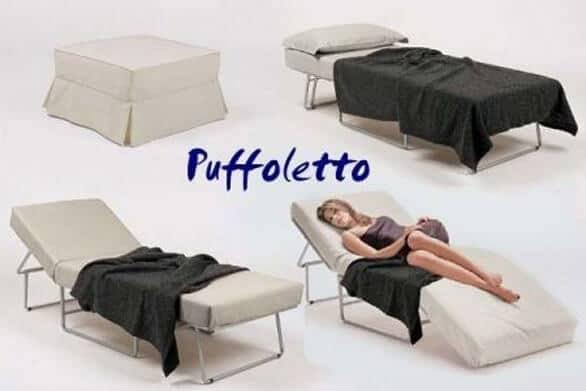 pouf letto materasso che diventa chaise longue trasformabile materasso alto anche in memory alta densita per tutti i giorni uso quotidiano puff puffo