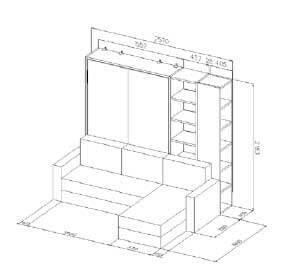 scheda tecnica con misure e disegno letto-a-scomparsa-con-divano-e-librerie-modello-Tuli personalizzabile