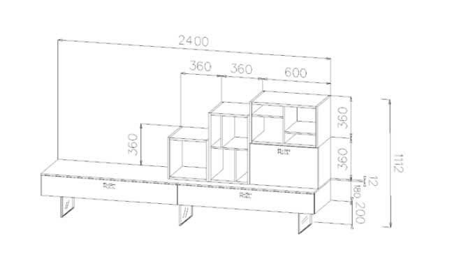 scheda tecnica con misure e disegno scheda tecnica con misure Parete Soggiorno Modello Tuni