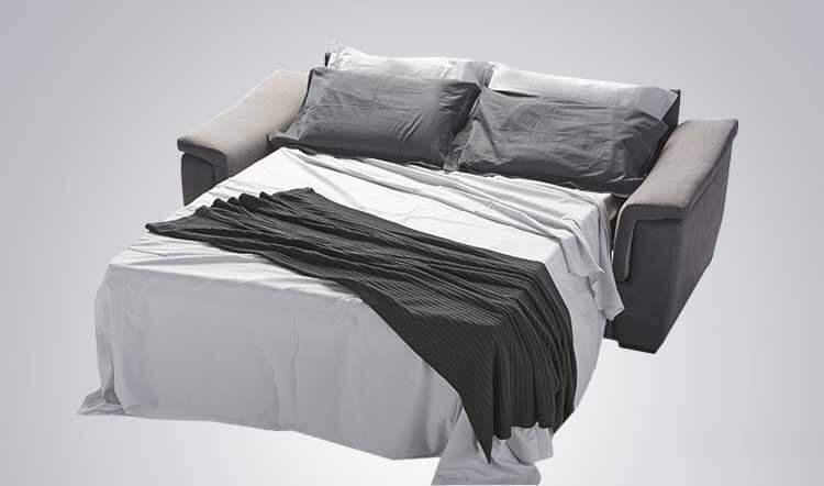 Divano letto modello willy divani letto con materasso h18 zona giorno divani e poltrone - Divano letto aperto ...