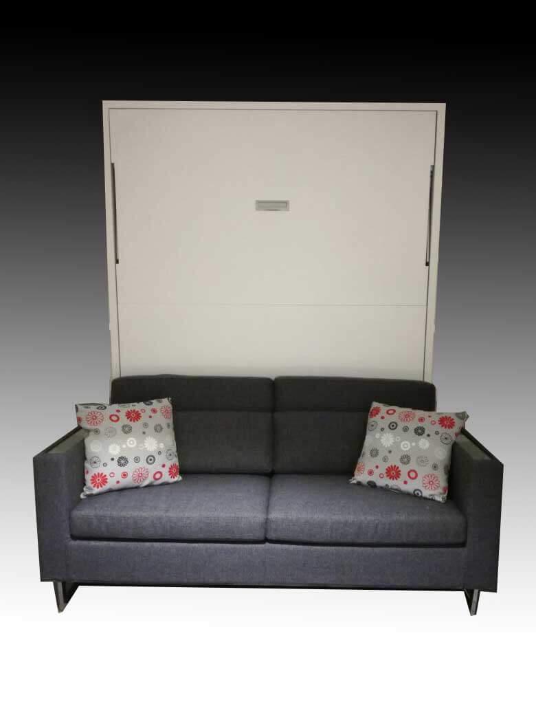 Letto a scomparsa modello living con opzione divano e materasso melaminico bianco arredamento - Divano letto a scomparsa prezzo ...