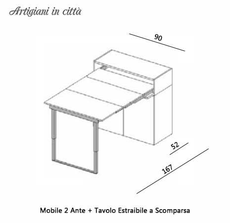 , Tavolo A Scomparsa + Mobile a 2 Ante Modello Bad