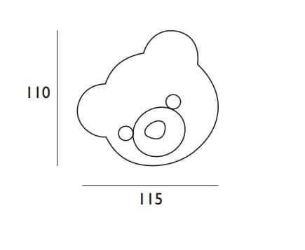 Testata Per Bambini Linea Junior Orso personalizzabile scheda tecnica misure e disegno