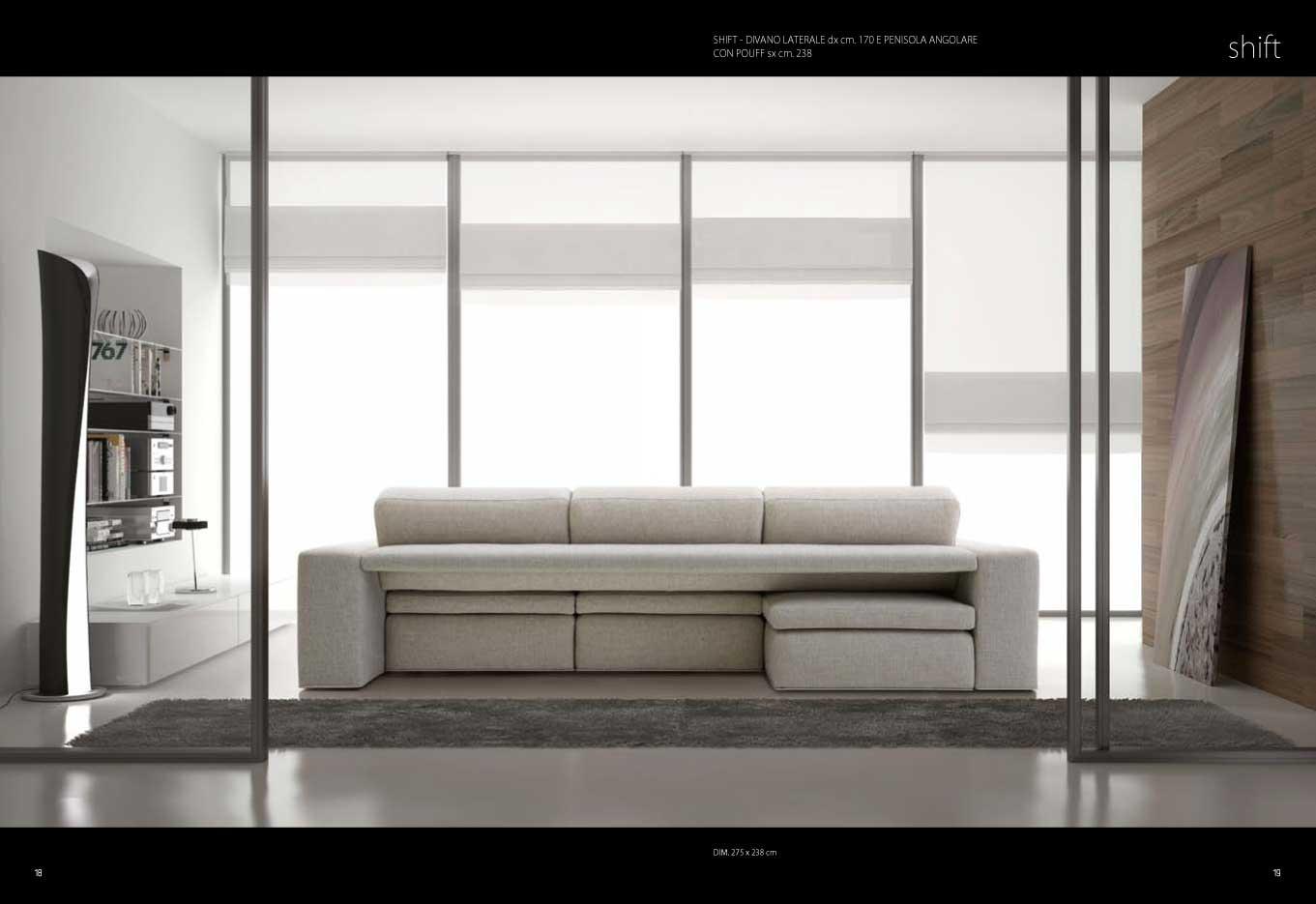 Divano modello sliding con sedute scorrevoli con penisola for Divano con mobile dietro