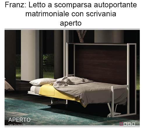 Letto A Scomparsa Autoportante Orizzontale Con Scrivania Modello ...