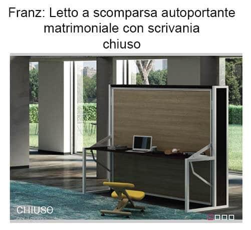 Letto A Scomparsa Autoportante Orizzontale Con Scrivania Modello Lodi