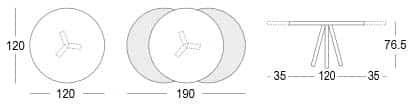 disegno con misure Tavolo Allungabile Tondo Ronda personalizzabile