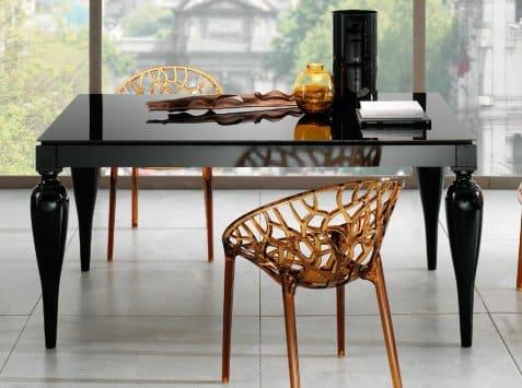 Tavolo In Vetro Nero Allungabile.Tavolo Allungabile Con Piano In Vetro Modello Giulietta Tavoli