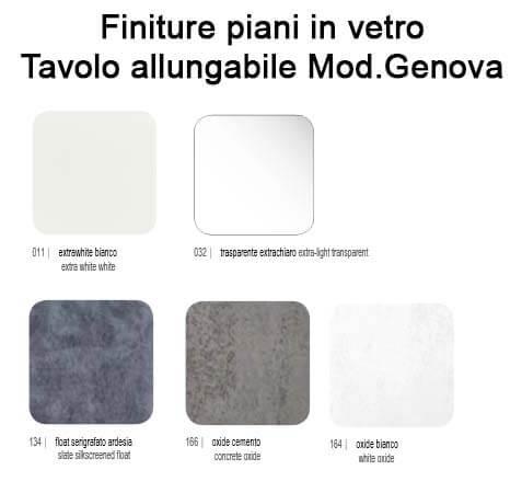 , Tavolo Allungabile con Piano in Vetro Modello Genova