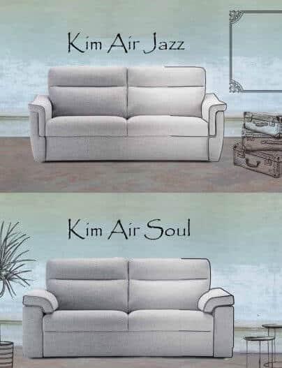 Divano Letto Materasso Alto Modello Kim foto tessuto chiaro divano trasformabile chiuso con tre differenti tipi di bracciolo