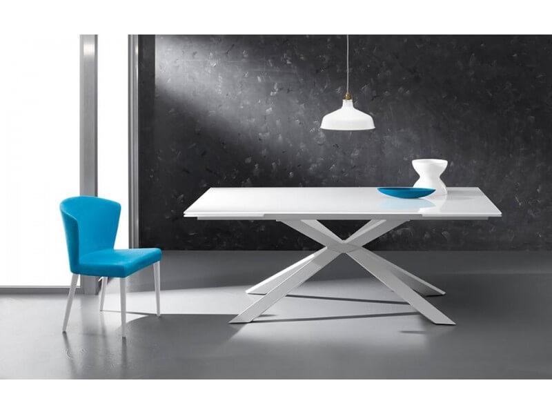 Tavolo allungabile con piano in vetro modello genova for Tavolo allungabile vetro bianco