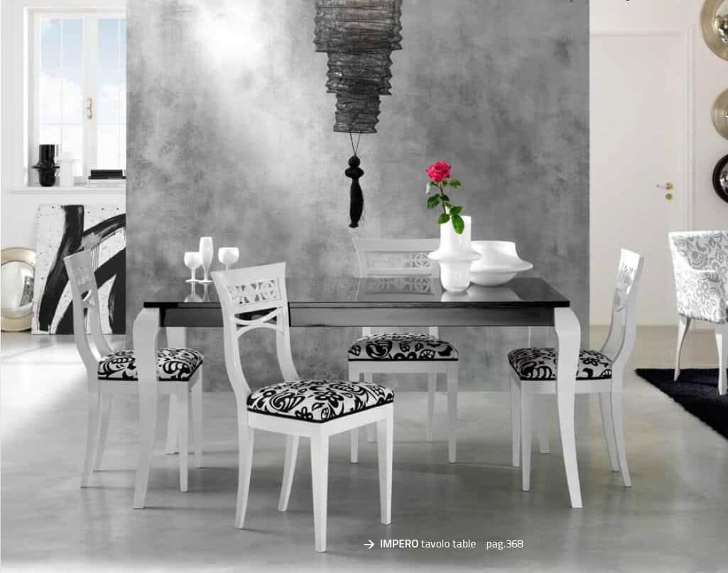 Tavolo allungabile bianco e nero set tavolo estensibile sedie