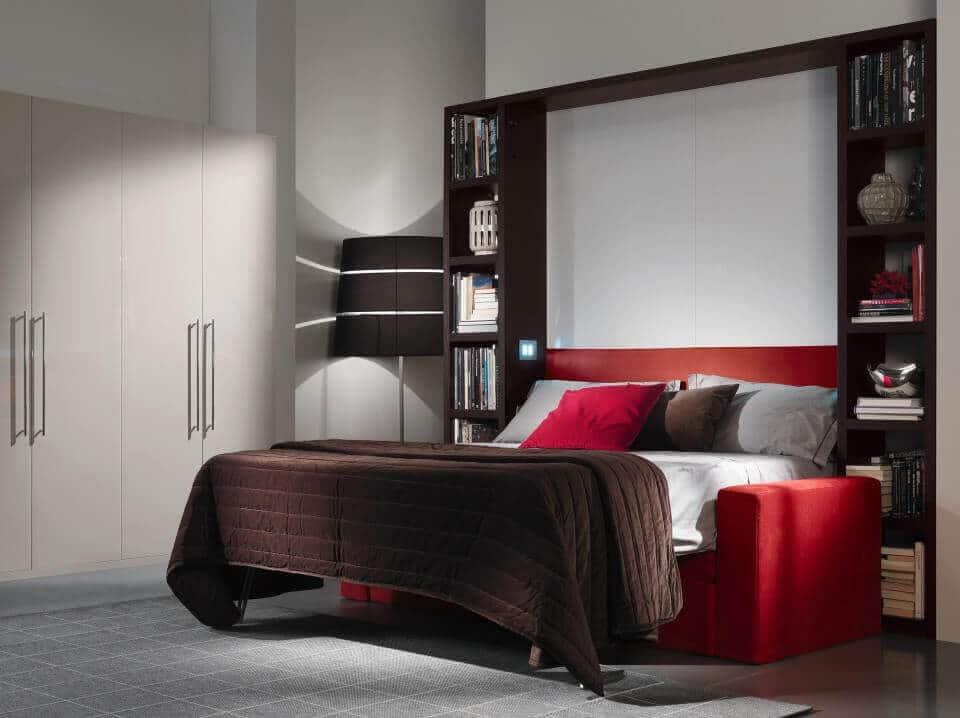 Mobile letto a scomparsa con divano modello living for Divano con mobile incorporato