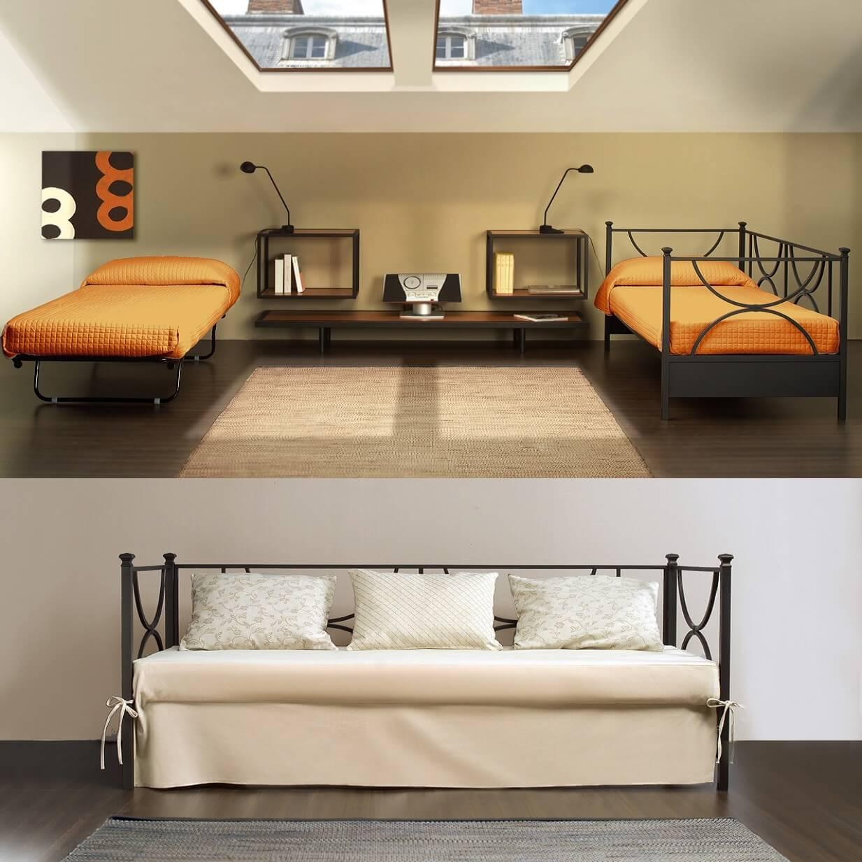 Doppio letto in ferro battutocon secondo letto estraibile for Arredamento ferro battuto