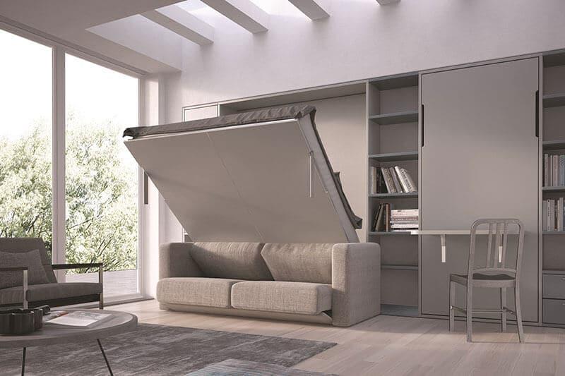 Letto a scomparsa componibile con e senza divano modello for Parete attrezzata con letto a scomparsa