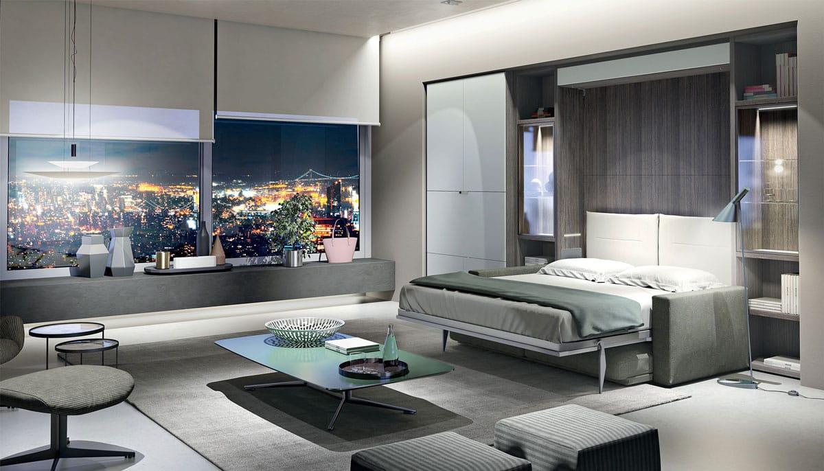 letto a scomparsa con divano su misura personalizzabile nel mobile letto a muro con living librerie e mensole con armadi