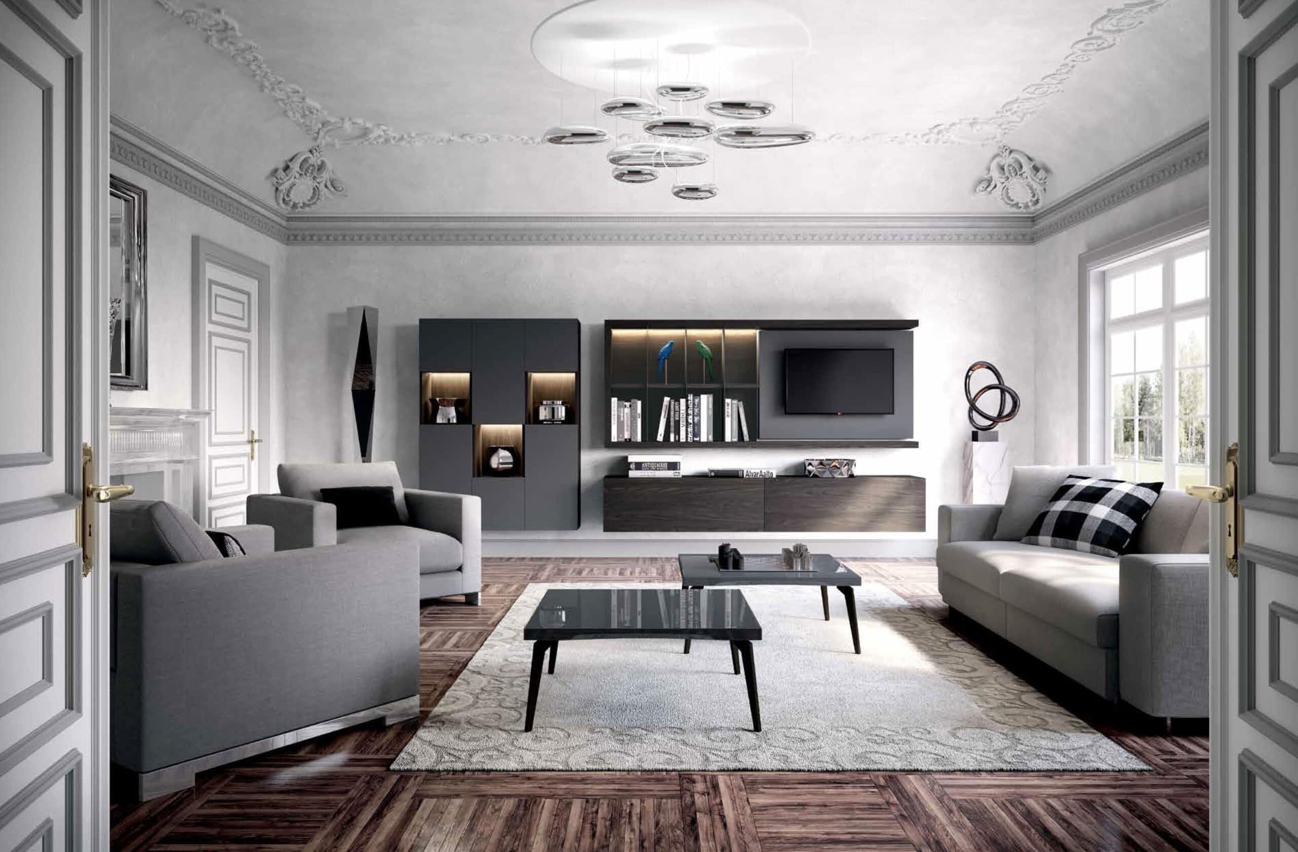 Parete Attrezzata Astor Sky 2-0 Modello Lusso Contemporaneo Composizione 503 con in primo piano, Small T tavolino basso quadrato 80x80 cm in Grigio Ferro 44 lucido e struttura color Manganese