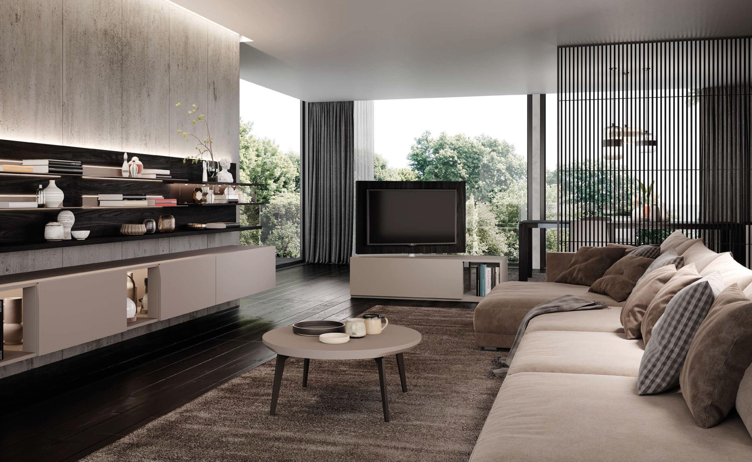 Skyline-3---Informal-space-organization-composizione con tavolino e divano