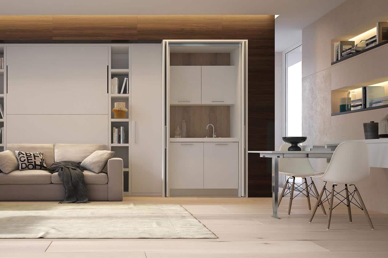 mobile mini cucina-a-scomparsa-monoblocco-salvaspazio-140-cm-su-misura-artigianale-modello-san-lorenzo