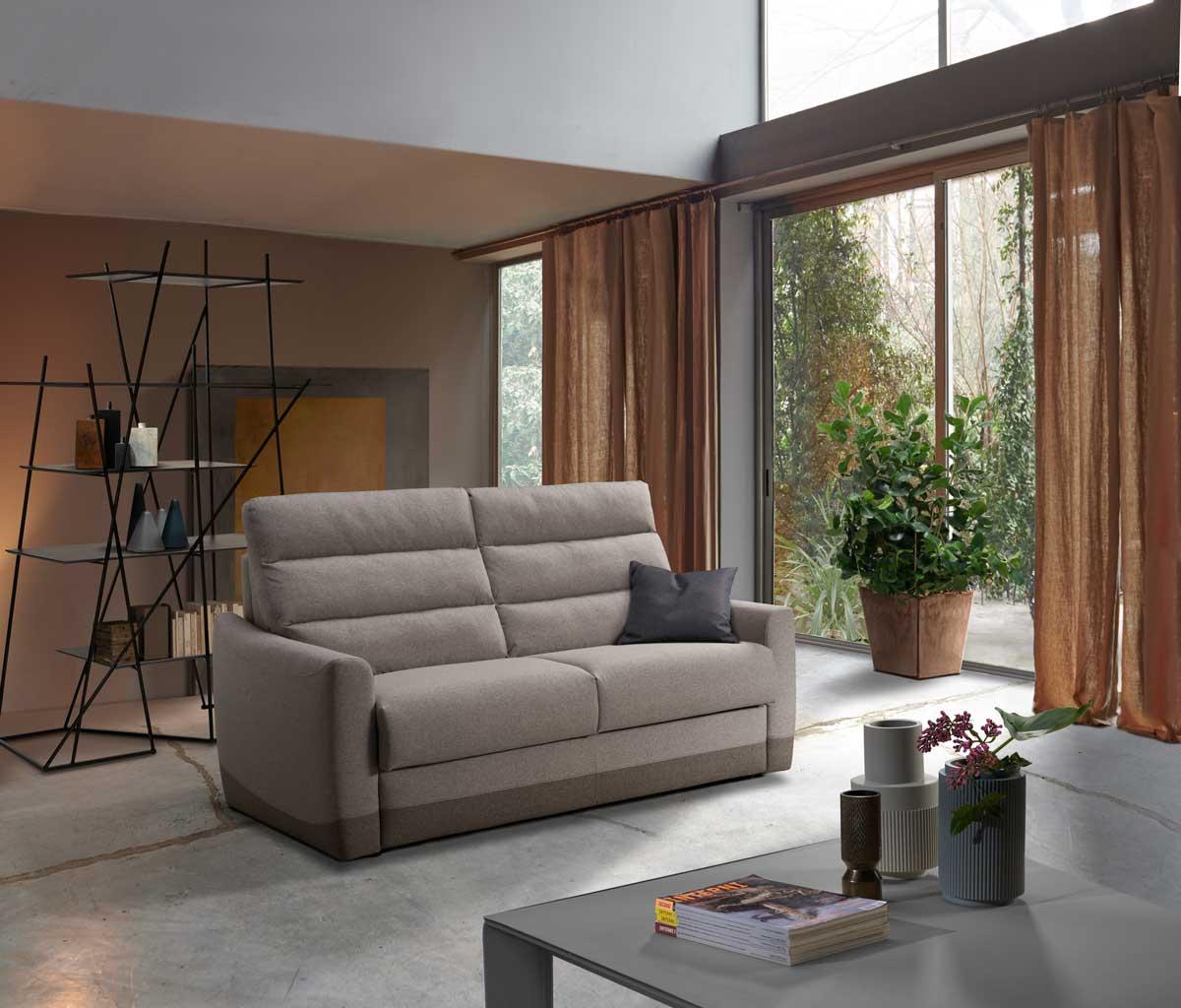 sofà letto con schienale alto e materasso h 21 cm memory
