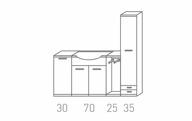 Arredamento Bagno Collezione Borea Reflex Composizione 22 su misura personalizzabile