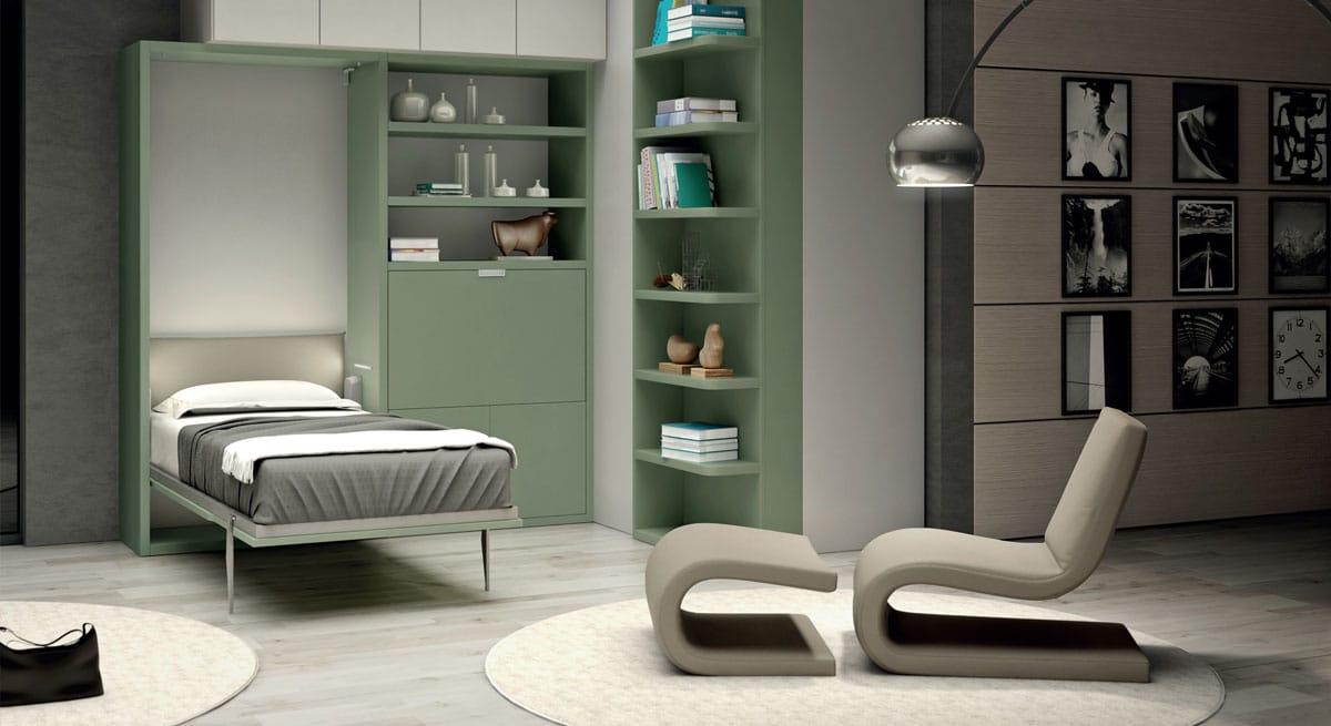 multifunzione-libreria-con-letto-singolo-a-scomparsa-con-finiture-a-scelta-modello-trieste-composizione-salvaspazio-aperta-con-materasso-alto-e-testata-tessile-imbottita