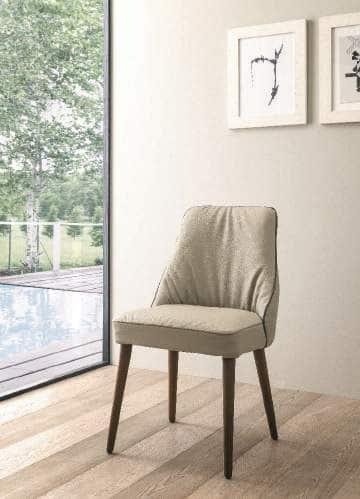 Sedia-Moderna-Soft-Modello-Jacky-Beige-Base-Legno- salvaspazio